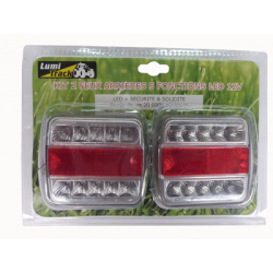 KIT 2 FEUX ARRIERE LED ROUGE/BLANC 12V