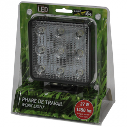 PHARE DE TRAVAIL CARRE 9 LED 1450LM LONGUE 12/24V LUMITRACK