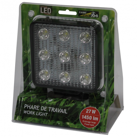 PHARE TRAVAIL LED CARRE 9 LED 1450LM