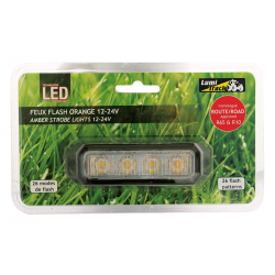FEU FLASH 4 LED PLAT ORANGE 12/24V