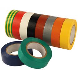 ASSORT 10 ROULEAUX PVC COULEUR ISOLANT 15MMx 10m